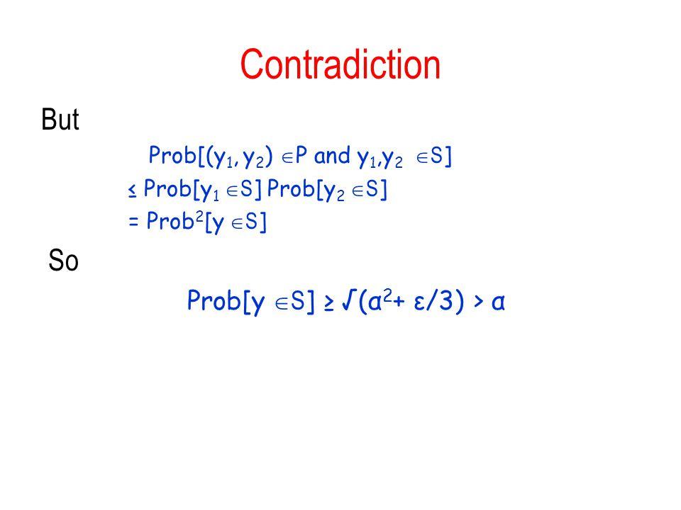 Prob[y S] ≥ √(α2+ ε/3) > α